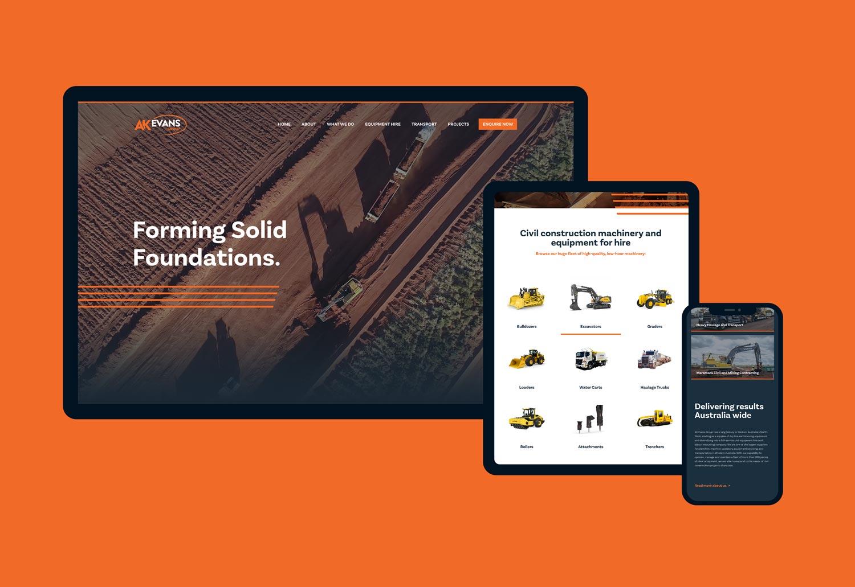 website creative design across three sized screens