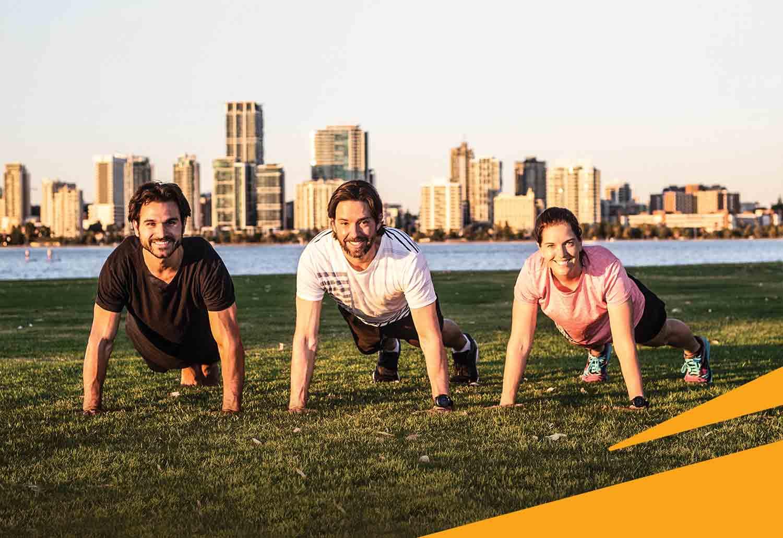 image of three people doing push ups using the push up challenge brand