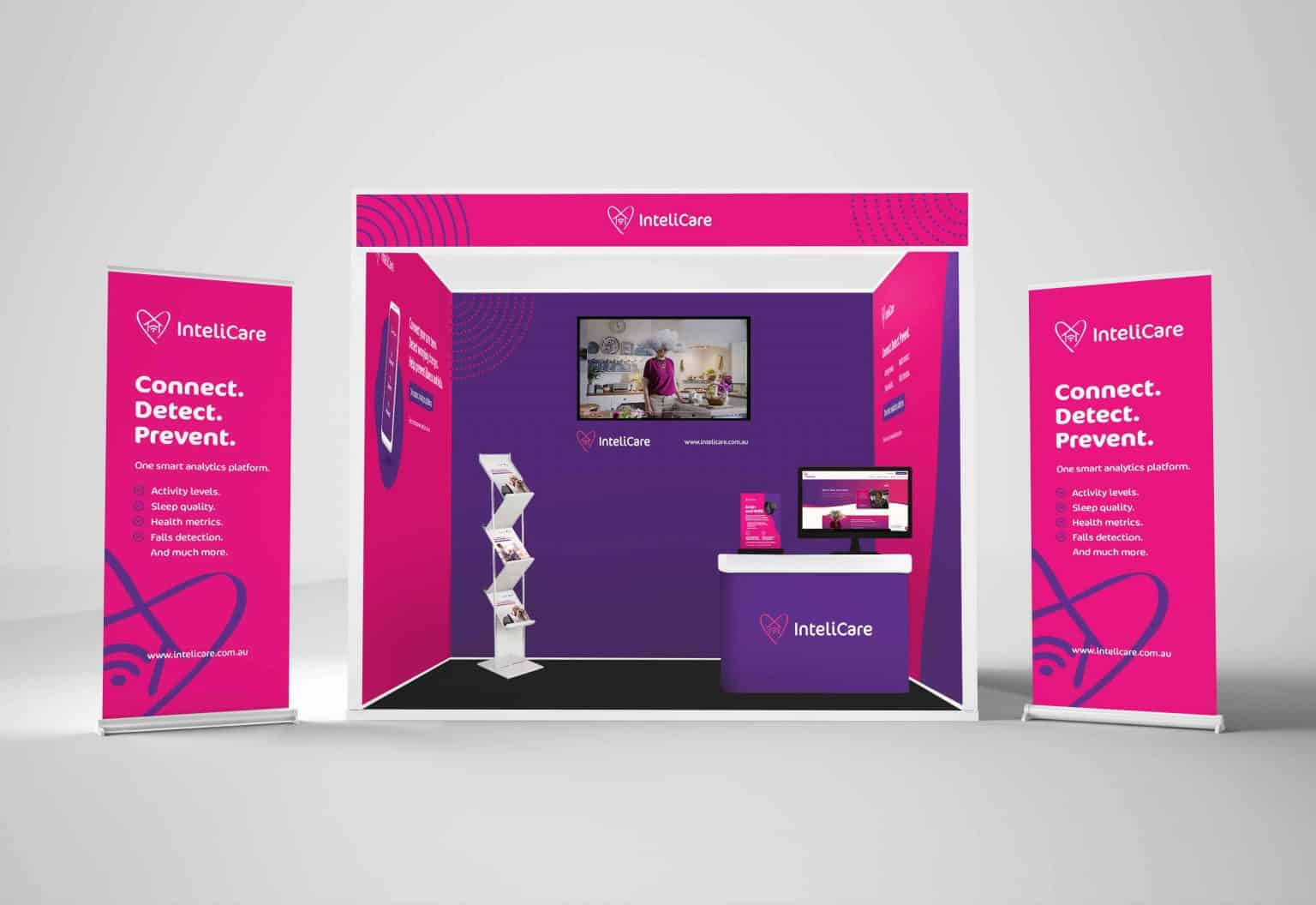 exhibition booth design mockup of tech startup brand
